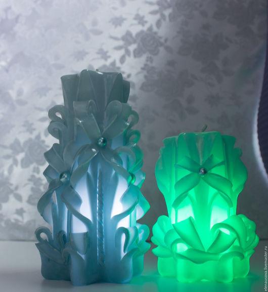 Свечи ручной работы. Ярмарка Мастеров - ручная работа. Купить Набор из двух резных свечей с подсветкой. Handmade. Резная свеча