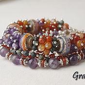 Украшения handmade. Livemaster - original item Multi-row bracelet with stones. Handmade.