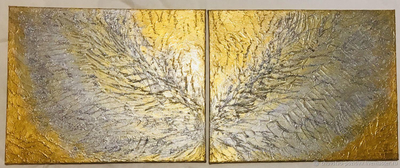 Картина диптих серебряные крылья на золотом фоне «Крылья» 2 по 50х40, Картины, Волгоград,  Фото №1