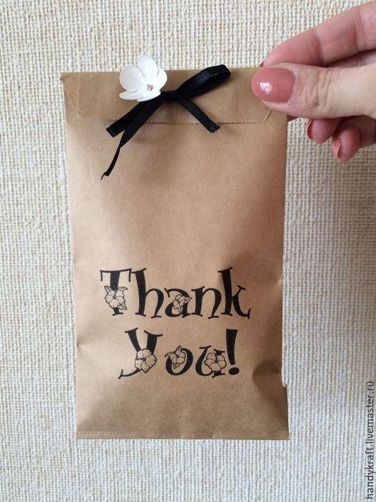 Упаковка ручной работы. Ярмарка Мастеров - ручная работа. Купить Крафт пакет с рисунком 10х19,5 см. Handmade. Коричневый