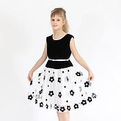 Работы для детей, handmade. Livemaster - original item Black and white dressy dress for girls made of velvet and mesh with embroidery. Handmade.