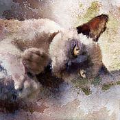 Картины и панно ручной работы. Ярмарка Мастеров - ручная работа акварель - Багира. Handmade.