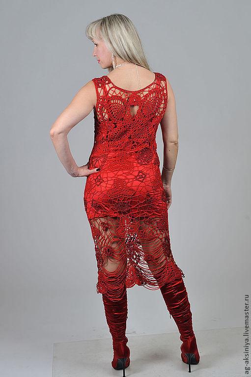 Платья ручной работы. Ярмарка Мастеров - ручная работа. Купить Платье вязаное  Красные цепочки. Handmade. Ярко-красный