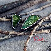 """Украшения ручной работы. Ярмарка Мастеров - ручная работа Колечки """"Зеленые кусочки"""" из Самаркандской керамики. Handmade."""