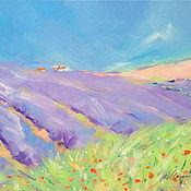 handmade. Livemaster - original item Oil painting on canvas Provencal fields. Lavender. Provence. Handmade.