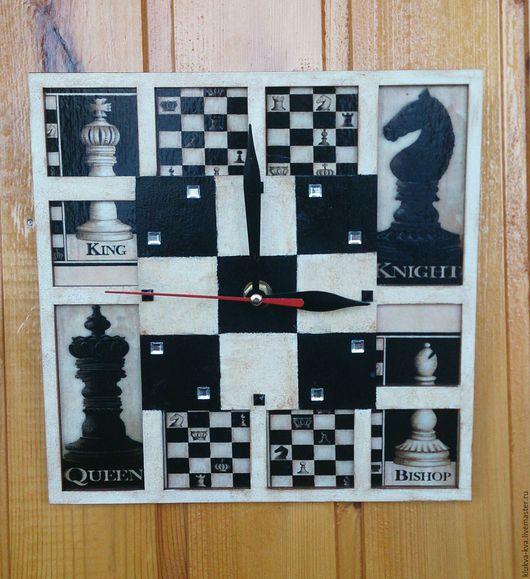 "Часы для дома ручной работы. Ярмарка Мастеров - ручная работа. Купить Часы ""Шахматы"". Handmade. Черный, часы на шахматную тему"