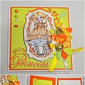 Открытки ручной работы. Ярмарка Мастеров - ручная работа Детская открытка «Принцессы». Handmade.