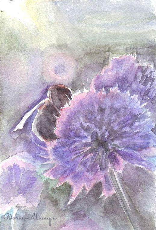 """Картины цветов ручной работы. Ярмарка Мастеров - ручная работа. Купить акварельная миниатюра """"пчелка"""". Handmade. Сиреневый, пчела, клевер"""