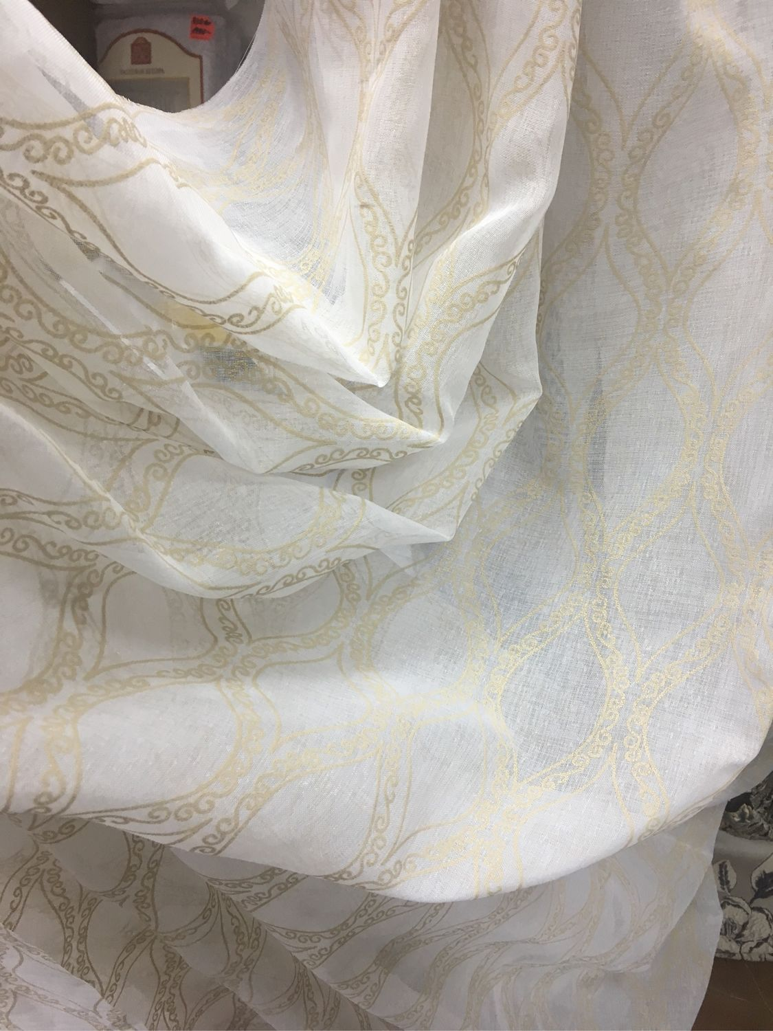 Tulle under the linen with a beige pattern, 'Continuity' with the weighting, Curtains, Mozhaisk,  Фото №1