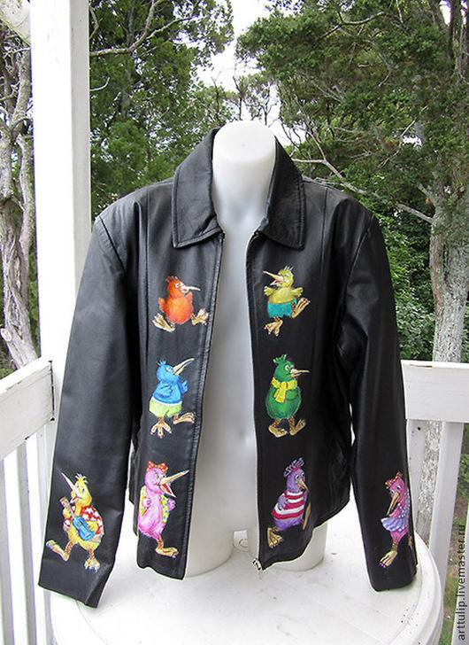 Верхняя одежда ручной работы. Ярмарка Мастеров - ручная работа. Купить Веселые птички-киви. Handmade. Черный, ручная роспись