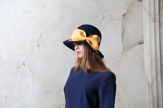 Шляпы ручной работы. Ярмарка Мастеров - ручная работа. Купить Шляпа парадная с желтым бантом. Handmade. Фетровая шляпа, авангард
