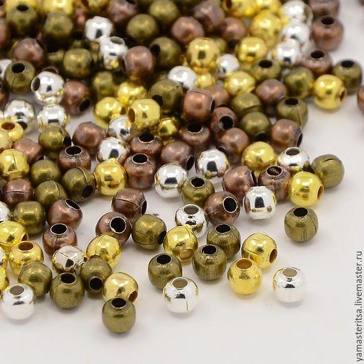 Для украшений ручной работы. Ярмарка Мастеров - ручная работа. Купить (10 шт) Бусины металлические 4 мм. Handmade.