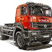 Картины и панно handmade. Livemaster - original item Figure, truck tractor Ural-S35410. Handmade.