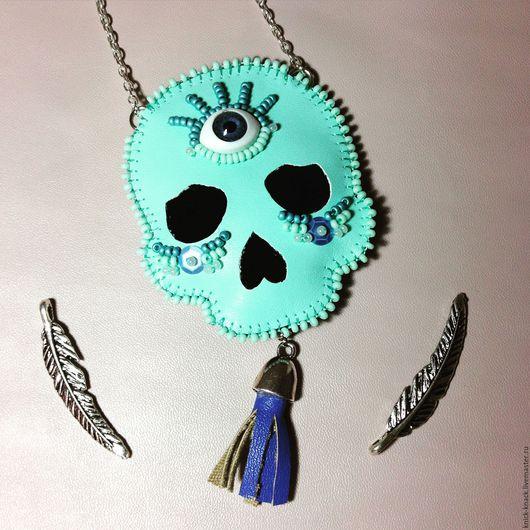 Кулоны, подвески ручной работы. Ярмарка Мастеров - ручная работа. Купить Sugar skull кулон. Handmade. Бирюзовый, голубой, кулон
