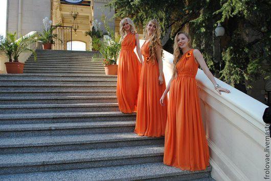 Платья ручной работы. Ярмарка Мастеров - ручная работа. Купить Подружки невесты. Handmade. Оранжевый, длинное платье, для фотосессии, шифон