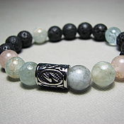 Украшения handmade. Livemaster - original item Bracelet with beryl, lava (basalt) and the rune