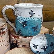 Посуда ручной работы. Ярмарка Мастеров - ручная работа Чайная пара керамическая Стайка. Handmade.
