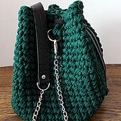 Сумка через плечо ручной работы. Ярмарка Мастеров - ручная работа Сумка-торба из трикотажной пряжи с кожаными элементами. Handmade.
