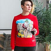 Одежда handmade. Livemaster - original item Sweatshirt sweatshirt Enjoy St. Petersburg with wine hand painted. Handmade.