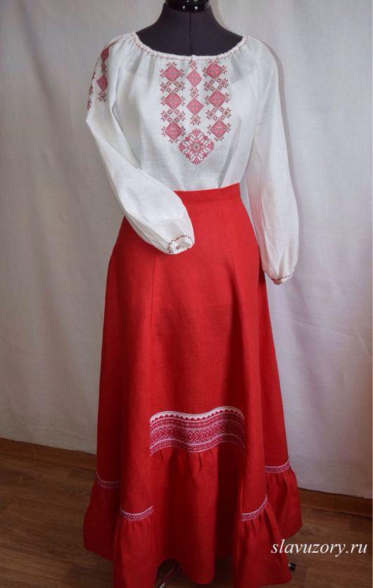 Одежда ручной работы. Ярмарка Мастеров - ручная работа. Купить Юбка из льна. Handmade. Славянский стиль, юбка