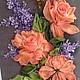 Картины цветов ручной работы. Ярмарка Мастеров - ручная работа. Купить Оранжевые розы и сирень. Handmade. Оранжевый, шелковые ленты