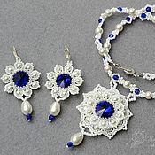 Украшения handmade. Livemaster - original item A set of beaded crystal Winter night blue white. Handmade.