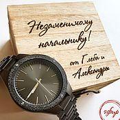 Подарки ручной работы. Ярмарка Мастеров - ручная работа Деревянные часы с гравировкой. Handmade.