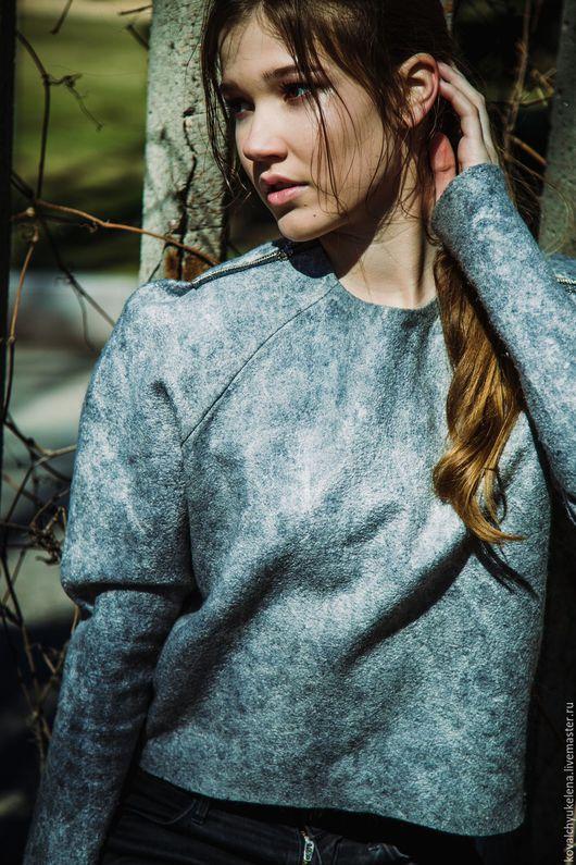 Кофты и свитера ручной работы. Ярмарка Мастеров - ручная работа. Купить свитшот. Handmade. Серый, шёлковые волокна