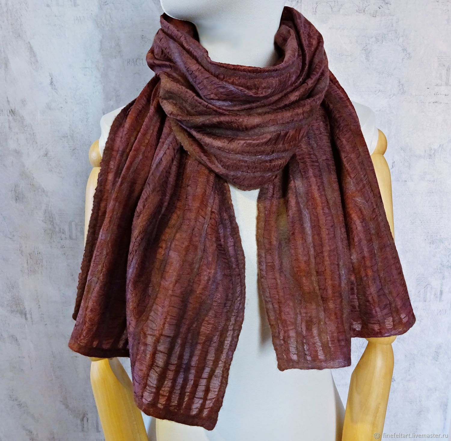 Scarf-stole 'Chocolate with cognac' felted wool silk, Wraps, Nizhny Novgorod,  Фото №1