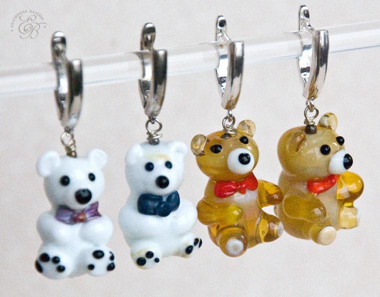 Earrings Teddy: white and brown bears, Earrings, St. Petersburg,  Фото №1