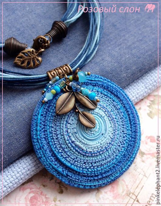 """Кулоны, подвески ручной работы. Ярмарка Мастеров - ручная работа. Купить Кулон """"Голубые края"""". Handmade. Голубой, кулон из глины"""