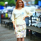 Одежда handmade. Livemaster - original item 30% discount!! Blouse in viscose with lace embroidery oversized milk. Handmade.
