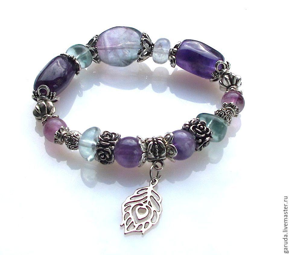 Б40 Bracelet made of fluorite and amethyst, Bead bracelet, Ubud,  Фото №1