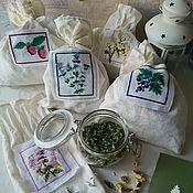 Для дома и интерьера ручной работы. Ярмарка Мастеров - ручная работа Льняной мешочек для трав с ручной вышивкой. Handmade.