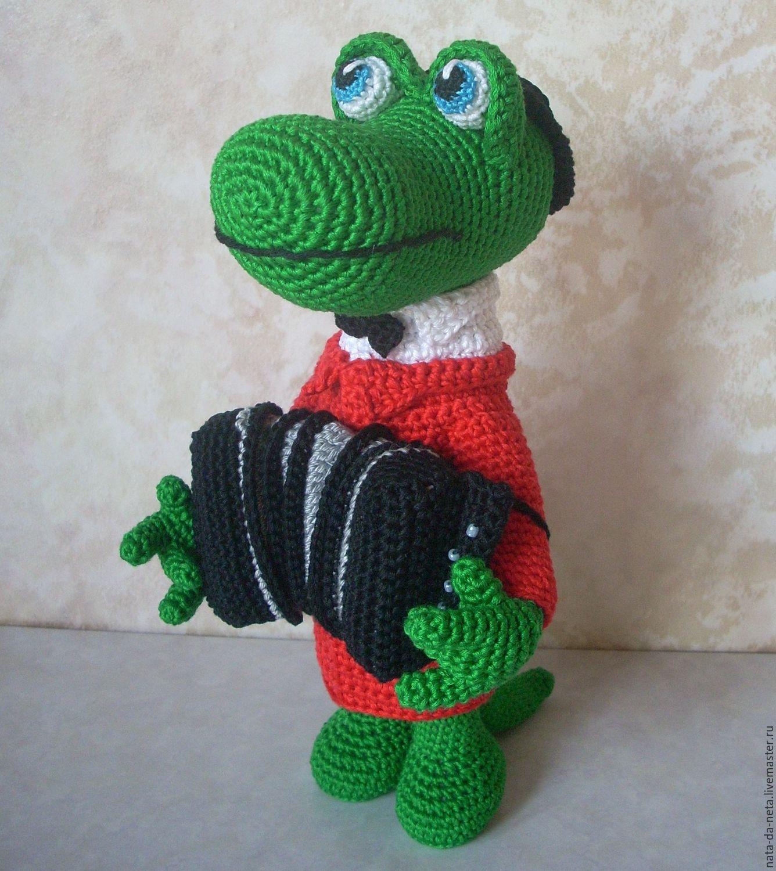 Игрушки животные, ручной работы. Ярмарка Мастеров - ручная работа. Купить Крокодил-гармонист.Крокодил вязаный.Музыкант вязаный. Handmade.