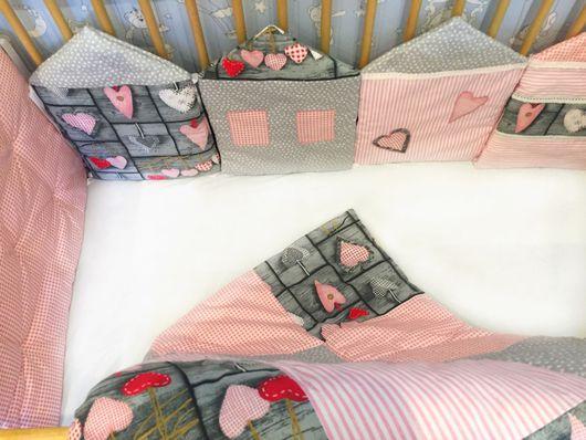 Детская ручной работы. Ярмарка Мастеров - ручная работа. Купить Бортики-домики в кроватку. Handmade. Бортики в кроватку, бортики подушки