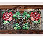 """Картины и панно ручной работы. Ярмарка Мастеров - ручная работа Витраж панно """"Розы Art Nouveau"""". Handmade."""