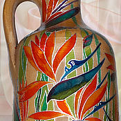 Посуда handmade. Livemaster - original item Bottle Strelitzia, stained glass painting on ceramics. Handmade.