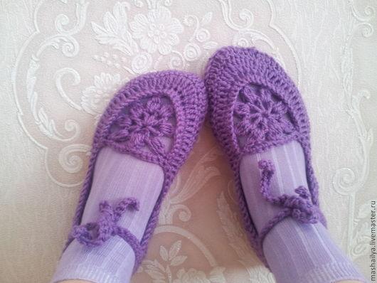 """Обувь ручной работы. Ярмарка Мастеров - ручная работа. Купить Балетки """"Лиловый восторг"""". Handmade. Фиолетовый, тапочки домашние"""