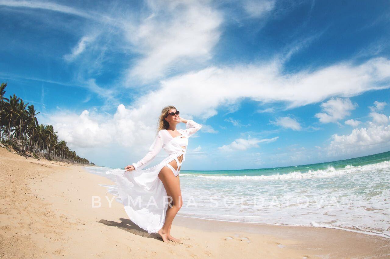Белая пляжная туника купить доставка