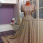 Одежда ручной работы. Ярмарка Мастеров - ручная работа Платье-костюм из штапеля расцветки Берберри. Handmade.