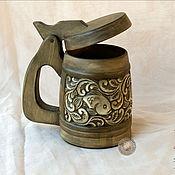 Посуда ручной работы. Ярмарка Мастеров - ручная работа резные деревянные крУжки. Handmade.