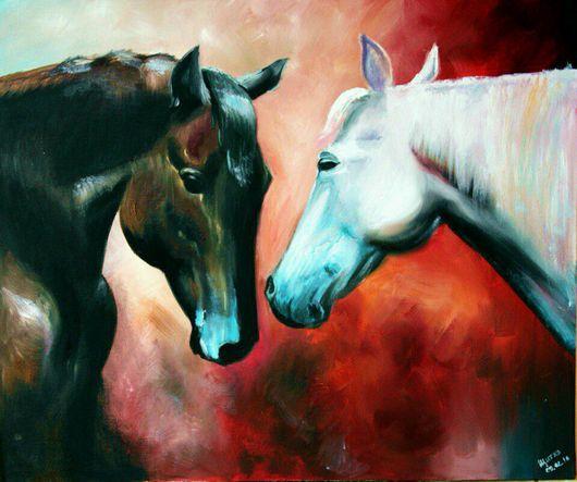 """Животные ручной работы. Ярмарка Мастеров - ручная работа. Купить Картина маслом """"Лошади"""". Handmade. Лошади, масляная живопись"""