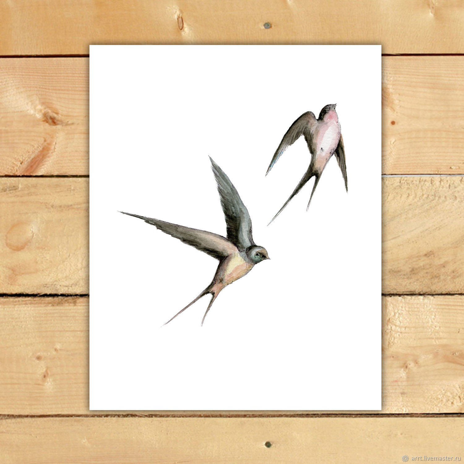 Swallows fly print Reproduction drawing for Girl, Pictures, St. Petersburg,  Фото №1