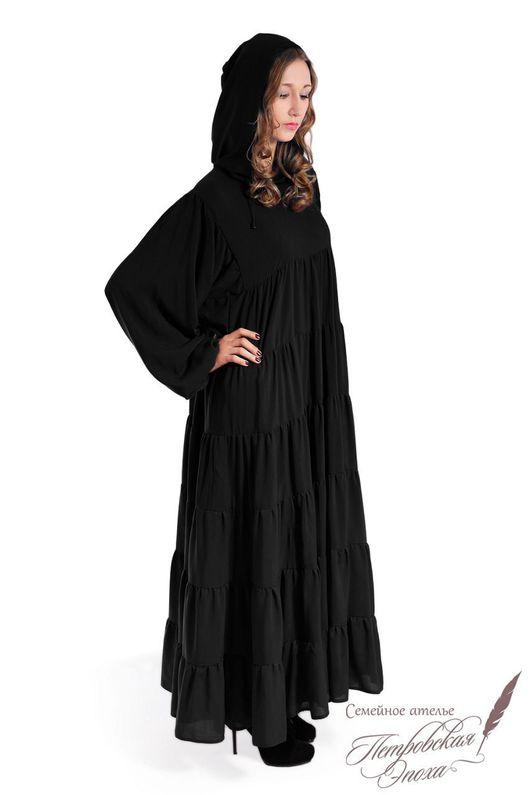 """Платья ручной работы. Ярмарка Мастеров - ручная работа. Купить платье с капюшоном ,,НОРО"""". Handmade. Черный, черное платье"""