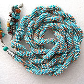 Украшения handmade. Livemaster - original item Lariat harness beaded Dana blue. Handmade.