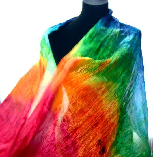 Шарфы и шарфики ручной работы. Ярмарка Мастеров - ручная работа. Купить шарф радужный женский шёлковый  цвета радуги яркий шарф. Handmade.