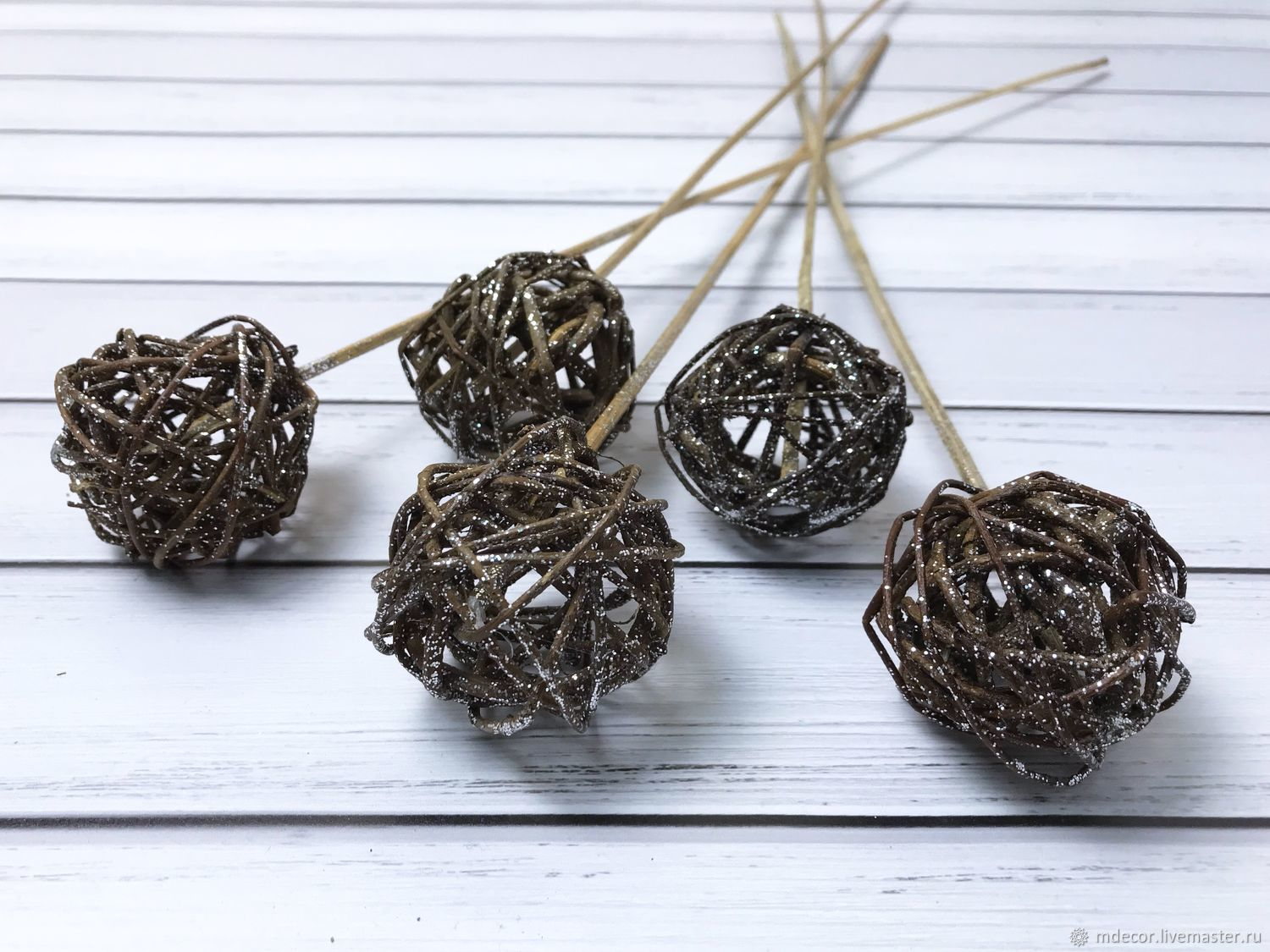 Brown braided balloon on the insert, Decor for floristry, Moscow,  Фото №1