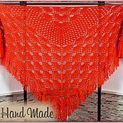 Аксессуары handmade. Livemaster - original item LEILA Crocheted Shawl 230*95 cm Triangular with Tassels #016. Handmade.