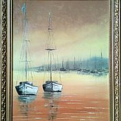 Картины и панно ручной работы. Ярмарка Мастеров - ручная работа Лодки в жёлтой бухте. Handmade.